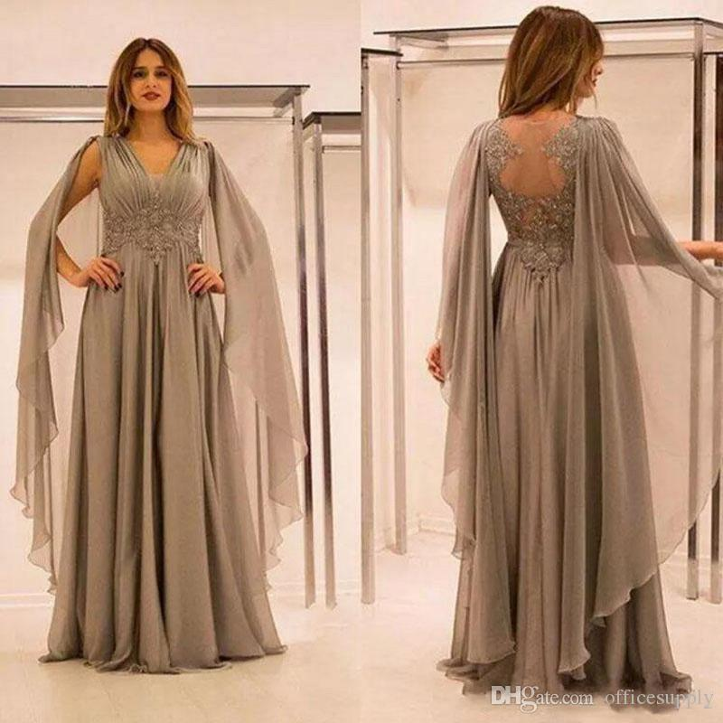 Elegant Chiffon Illusion Back Mother of The Bride Groom Dresses with Lace Applique Beads Ruched V Neck Evening Dress Plus Size