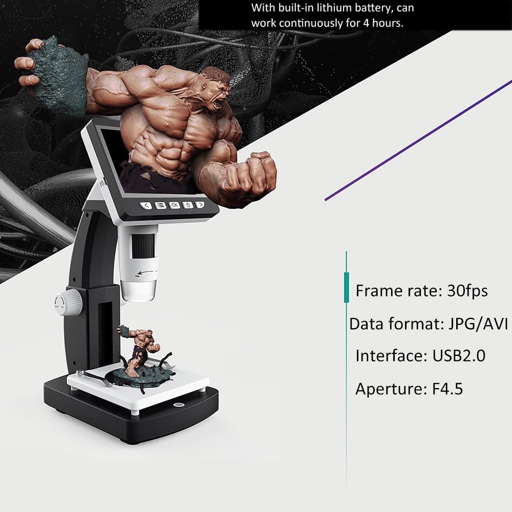 Digital Microscope Camera Portable Desktop LCD Microscopio Magnifier with 8 LED Light and HD Multimedia Interface Endoscope