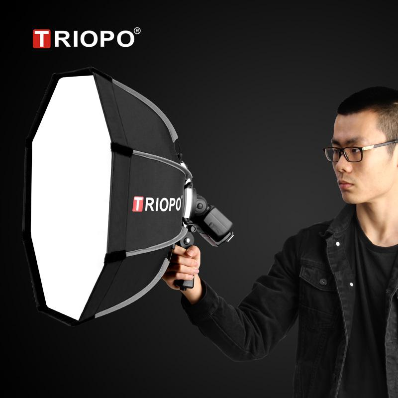 Cheap Softbox TRIOPO 65cm Portable Flash Outdoor Octagon Umbrella Softbox for Godox V860II AD200 Yongnuo YN560 IV TR-988 Speedlite Soft Box