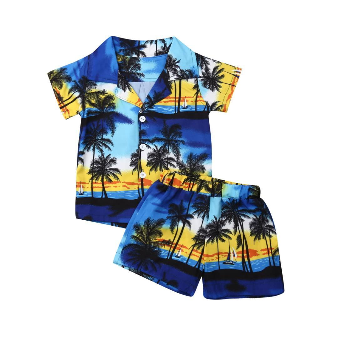 d2ff7736c 1-6Years Hawaiian Style 2pcs Toddler Kids Boys Summer Outfits Holiday Beach  Floral Short Sleeve Shirt Top +Shorts Set