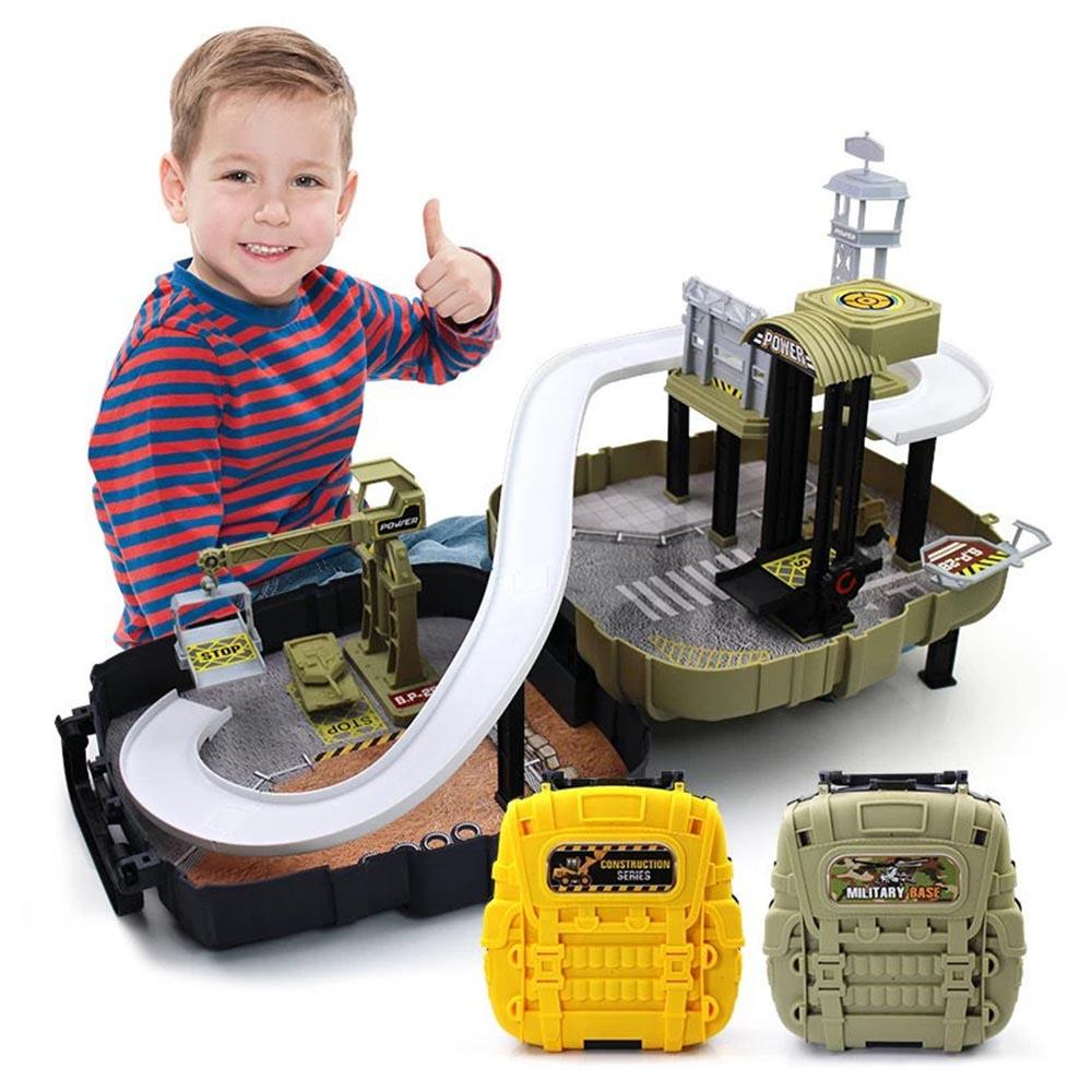 DIY Track 3D Car Racing Track Toys Car Parking lot Assemble Railway Rail  Toy Model Backpack kit Toy for kids Birthday