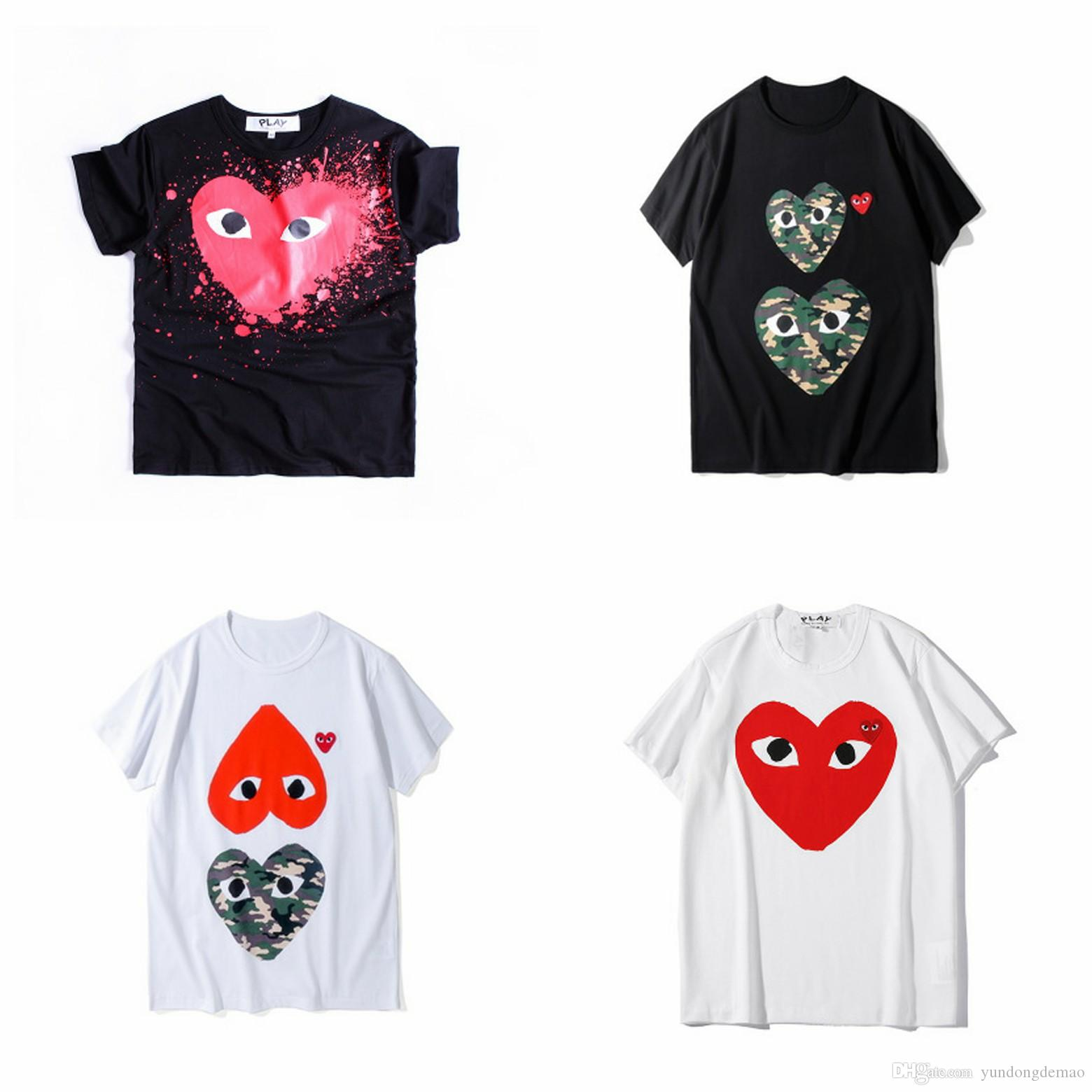 Lover New Arrive COM Best Quality CDG Classic TEE brand new Black Men Play T-shirt White Short Sleeve Tops M Size Men's Japan Brand