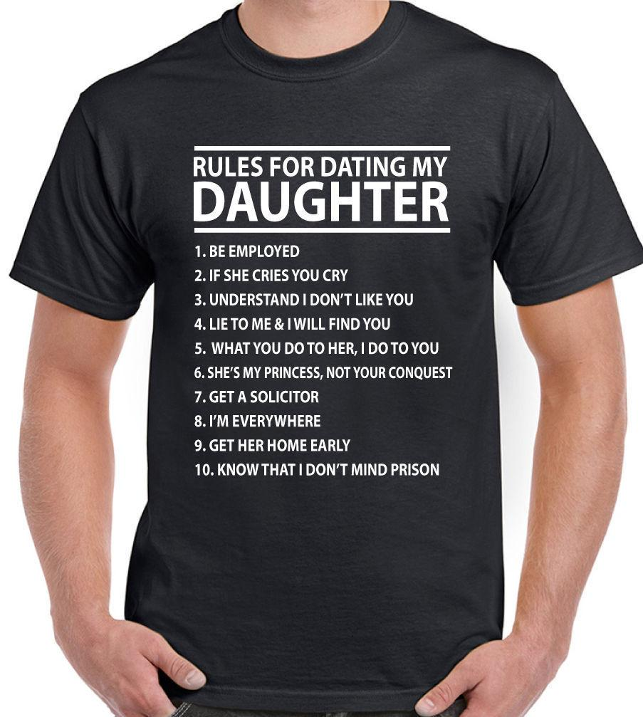 0724f5e28 Rules For Dating My Daughter Mens Funny T Shirt Father'S Day Birthday Dad  Fashion Style Men Tee Hip Hop Funny Tee, Mens Tee Shirts Cute T Shirts Nerd  T ...