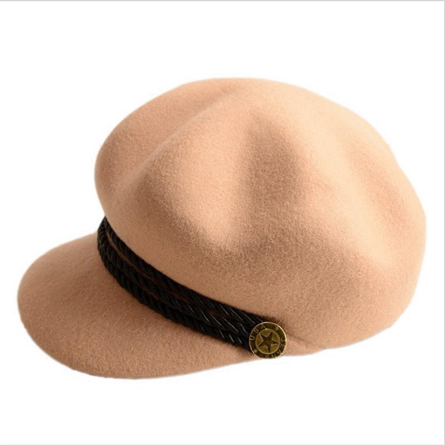 708bc46d33444 Fashion 100% Wool Women Beret Autumn Winter Hats Stylish Artist ...
