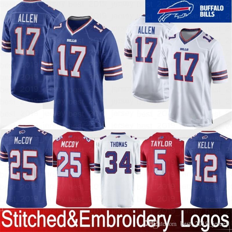 Embroidery Buffalo 17 Josh Allen Bills Jersey 12 Jim Kelly 25 LeSean McCoy  34 Thurman Thomas 49 Tremaine Edmunds 27 Tre Davious Blanc 12 Jim Kelly 17  Josh ... b18d039c7