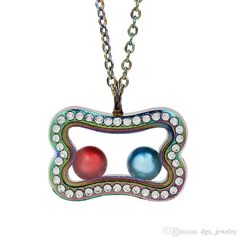 Rainbow Color Dog Bone Magnetic Open Glass Locket Pearl Cage Living Memory Pendant Floating Charms Necklace With Necklace for DIY Making