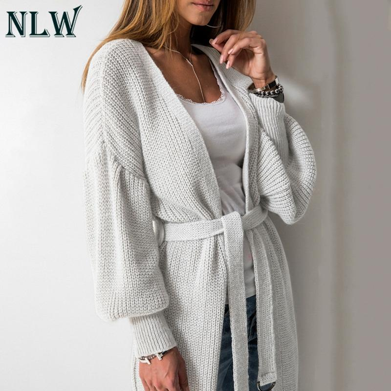 35ea8d48f09 NLW Casual Lantern Sleeve Women Cardigans Knitted Long Cardigans Belt Tie  Winter Sweater Cardigan