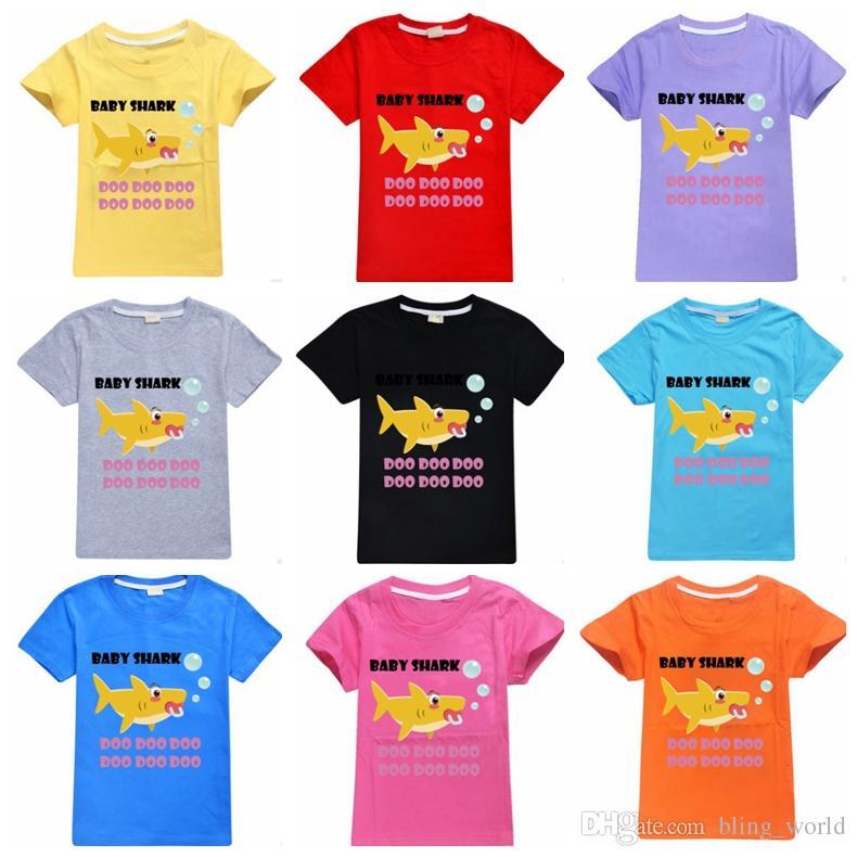 73aca8dd Baby Shark Shirts Cartoon Shark Boys T Shirt Short Sleeve Girls Tees Casual  Children Clothes Summer Kids Clothing 10 Designs YW2942