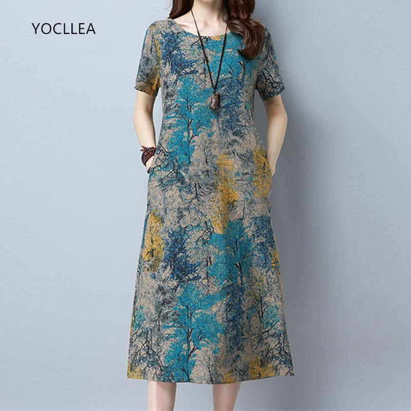 3c071709fb 2018 Cotton Linen Summer Dress Women Loose Plus Size Casual Dress Ol Work Wear  Vintage Print Beach Sundress Dresses Vestidos Y19021417 Online with ...