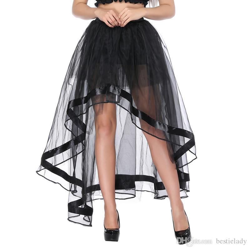 Women Elastic Waist Black Mesh Tulle Hi-lo Floor Length Long Swing Skirt for Burlesque Corset Top Perfect Halloween Outfit Skirts Plus Size