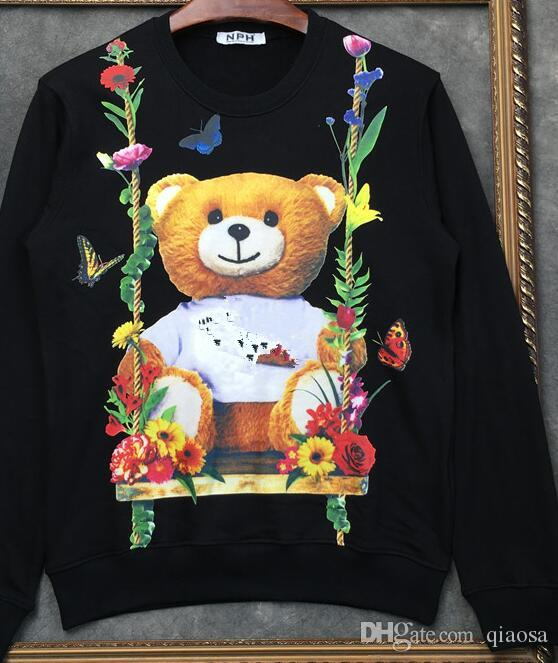 Tide brand cartoon bear sweater women's round neck super fire couple network red with the men 2019 new wild