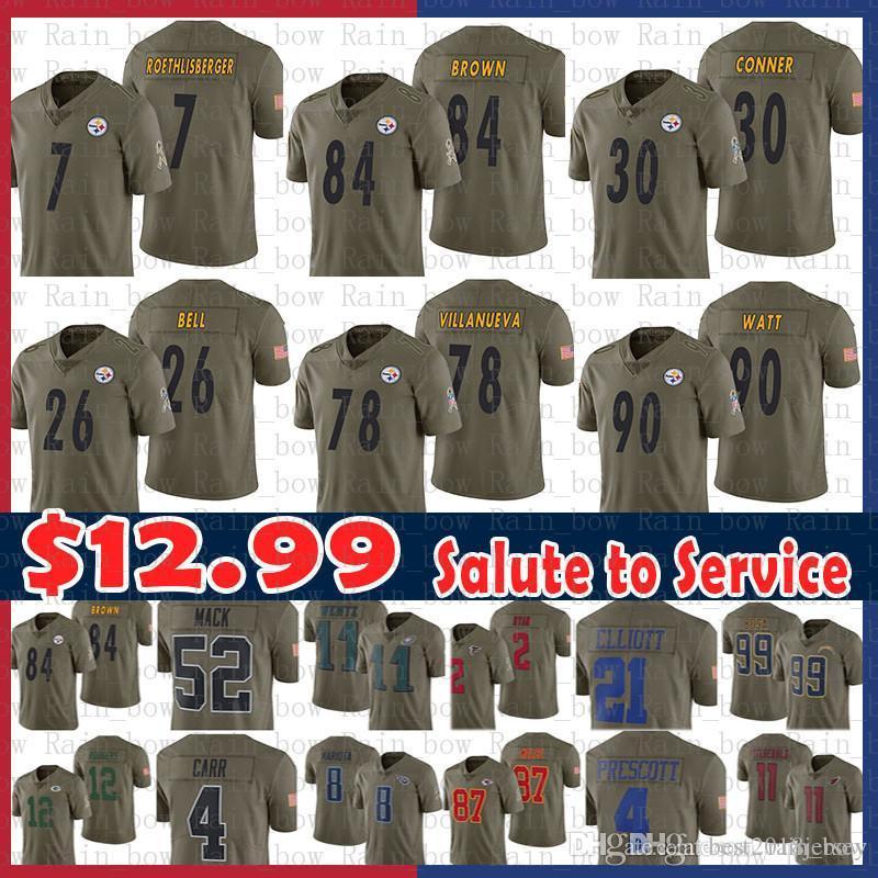 a5fd0a9a328 Sale 84 Antonio Brown Jersey 90 T.J. Watt Pittsburgh Steelers 7 Ben ...