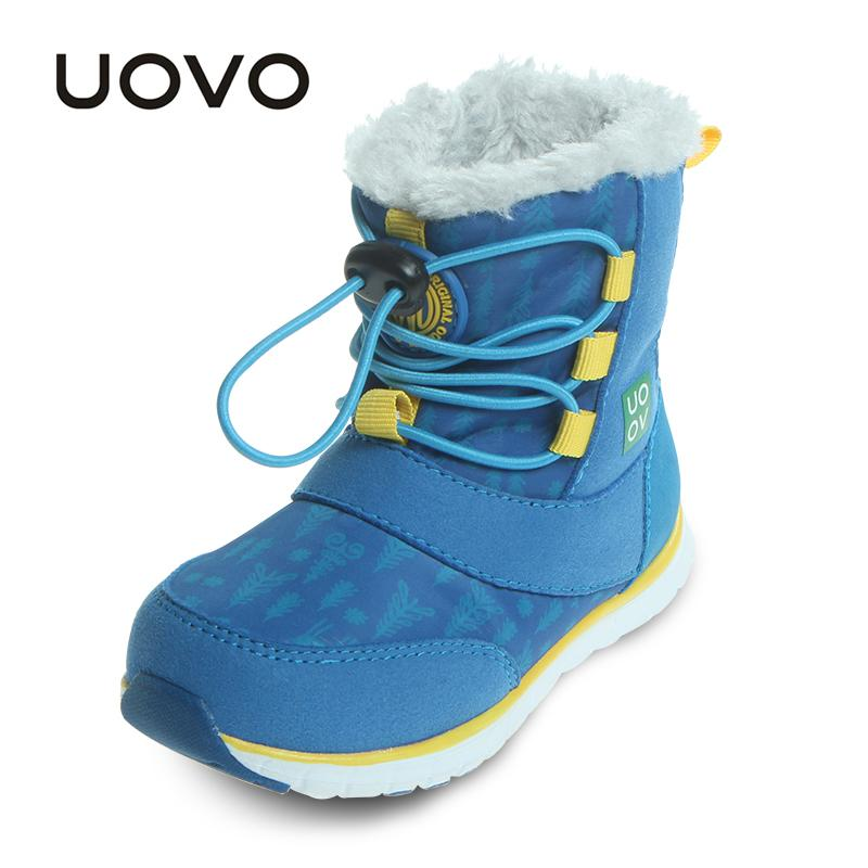 UOVO 2019 Snow Boots Kids Winter Boots Boys Waterproof Shoes Fashion Warm Baby For Boys Toddler Footwear Size 23# 30#