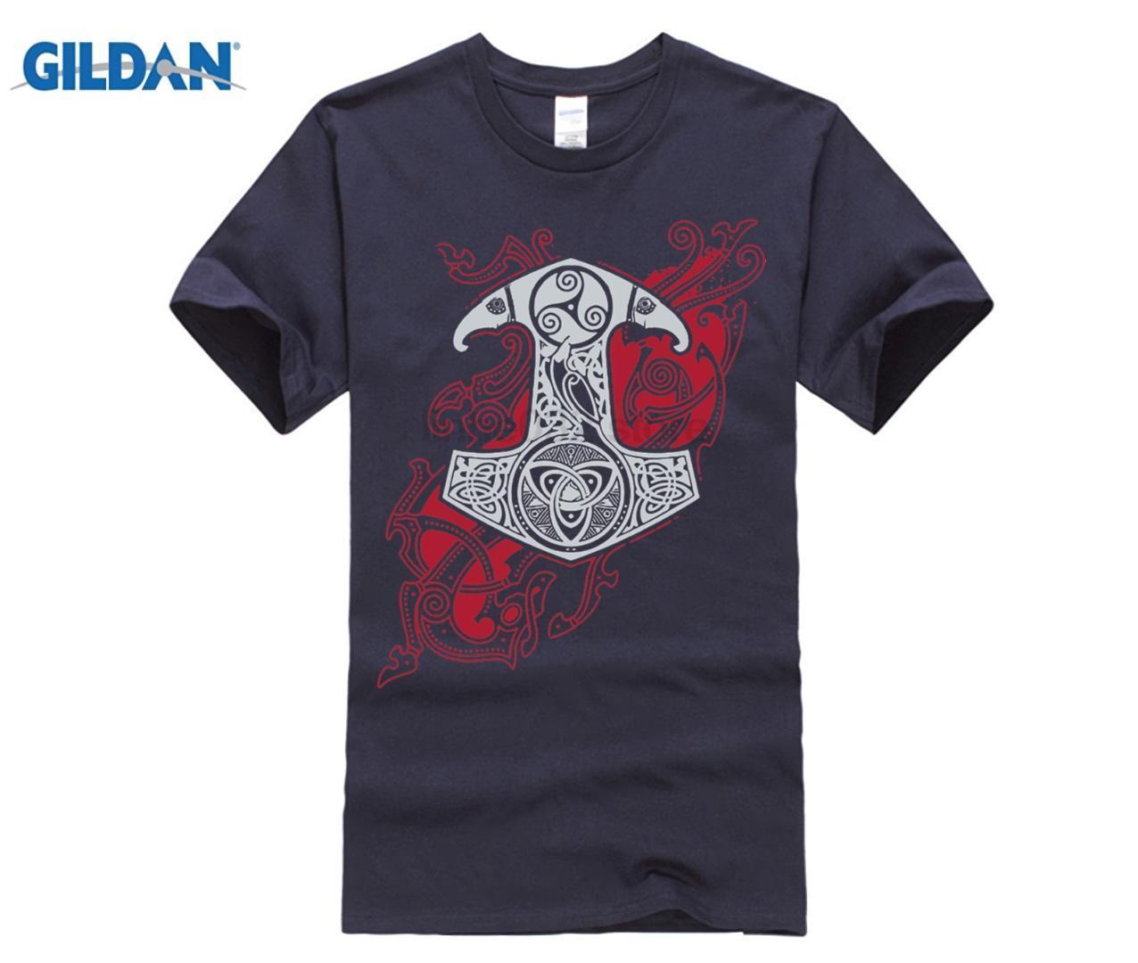 T Raven's Shirt Neck O Uomo Acquista Mjolnir Berserk Valhalla Tees lKTF1J3c