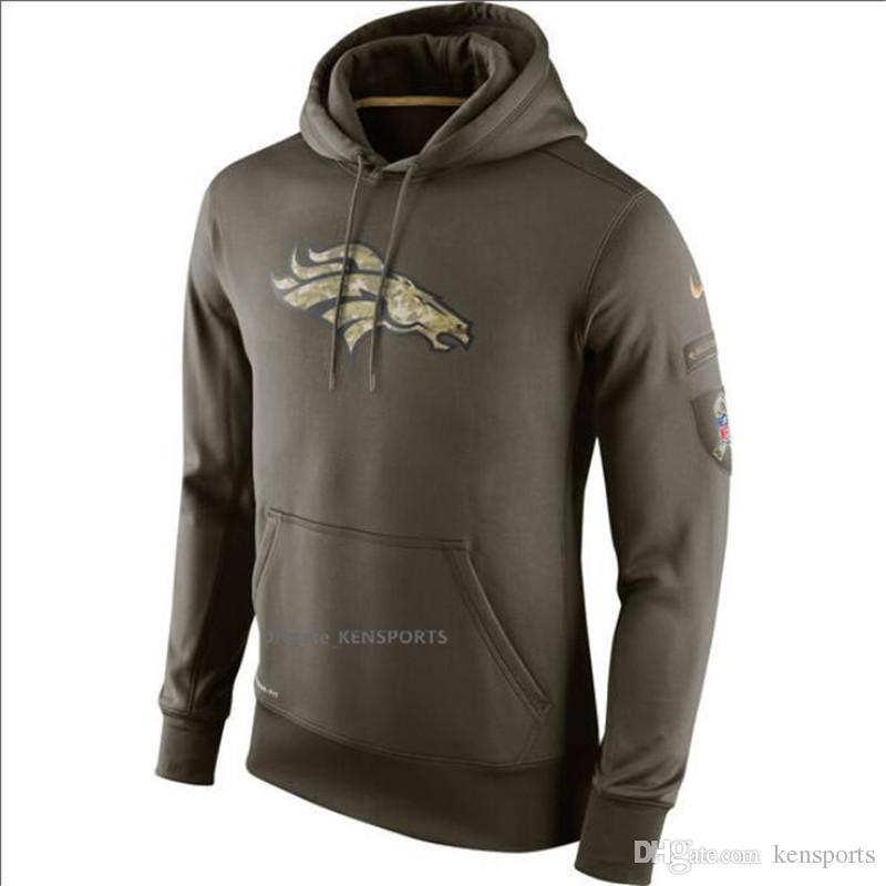buy online 8383b 30cd6 Men Women Youth Denver Broncos Olive Salute To Service KO Performance Hoodie