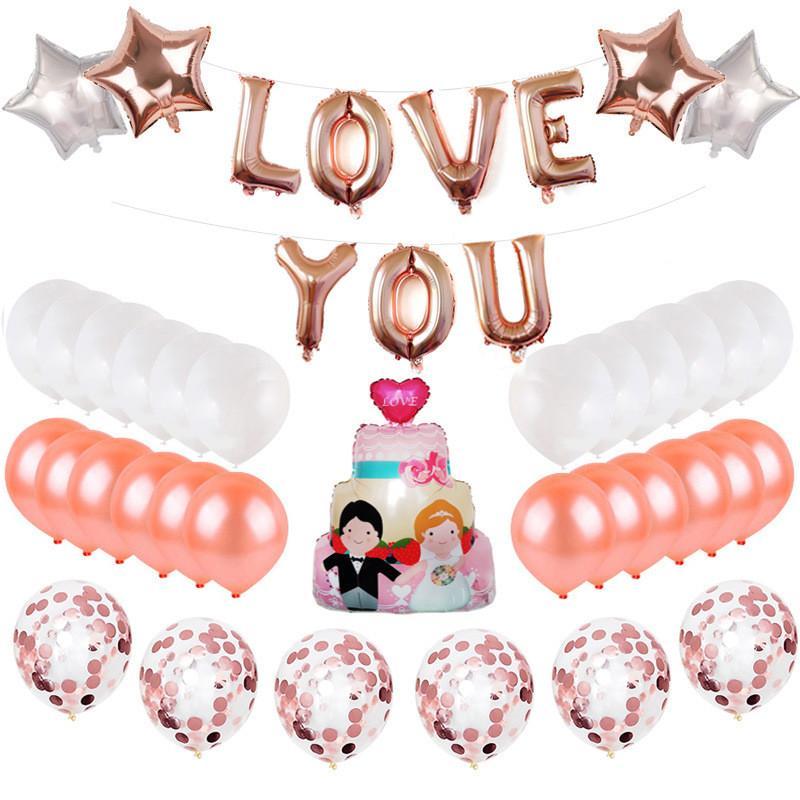2018 Love U Foil Balloons Set Valentine Day Wedding Bridal Party