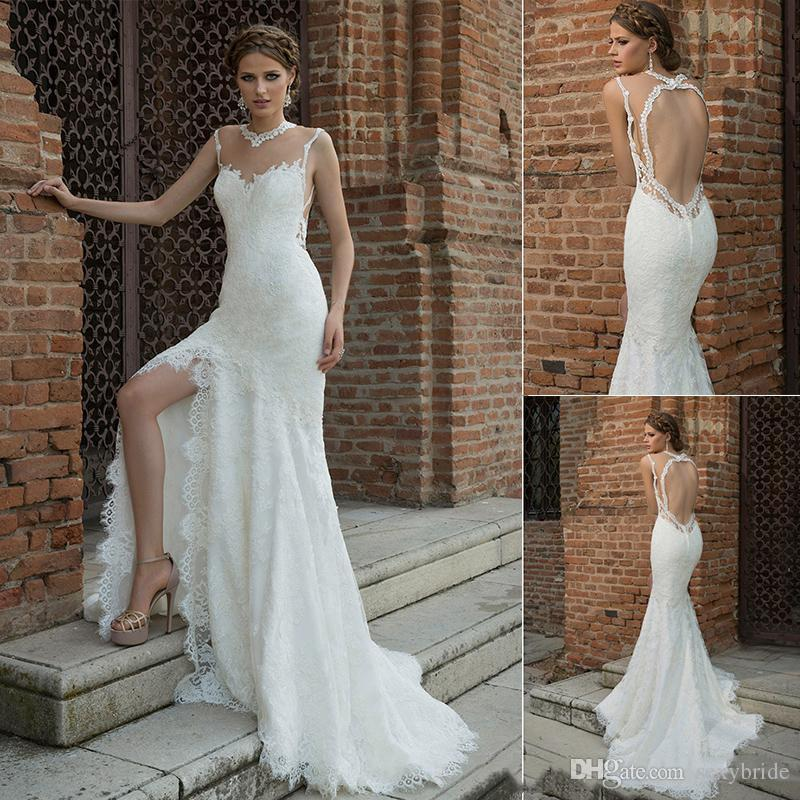 d93e5cd25c6 Sexy Backless Sheath Lace Wedding Dresses Long Side Split High Neck  Illusion Court Train Bohemian Bridal Gowns 2019 Beach Boho Wedding Dress  Lace Sleeved ...