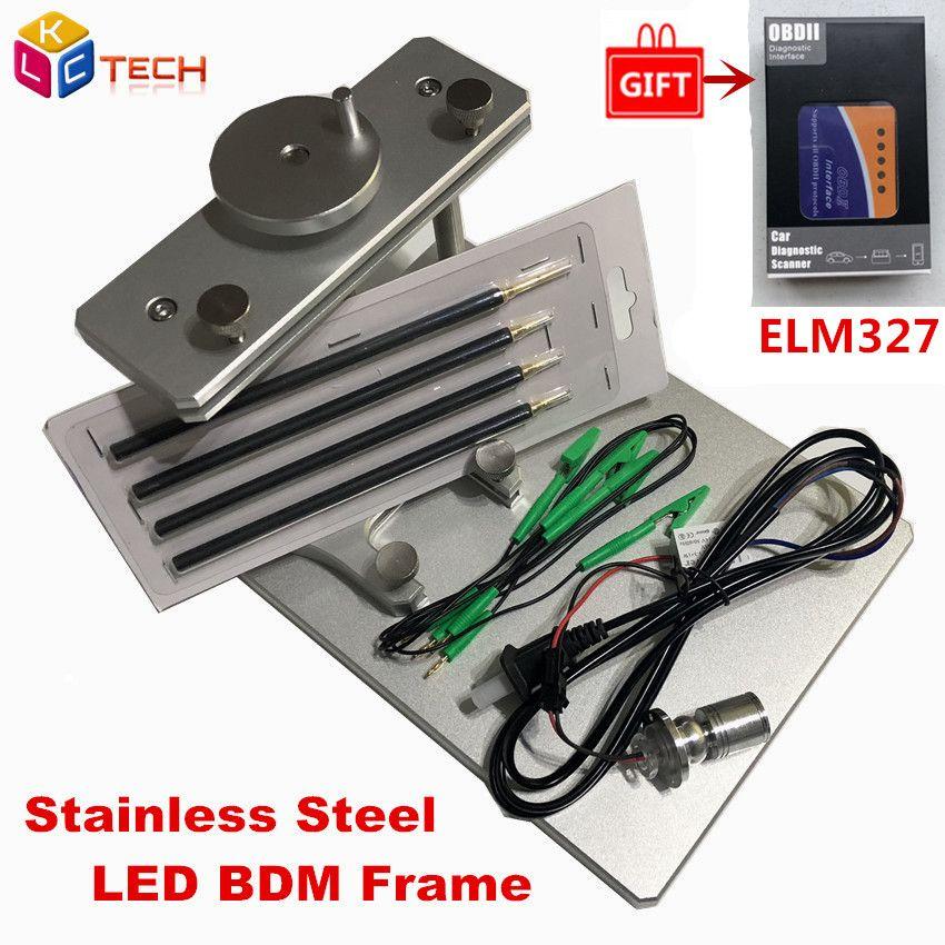 Stainless Steel LED BDM Frame ECU Programmer Metal BDM Frame With Probe 22  Adapter For Ktag KESS V2 Fgtech