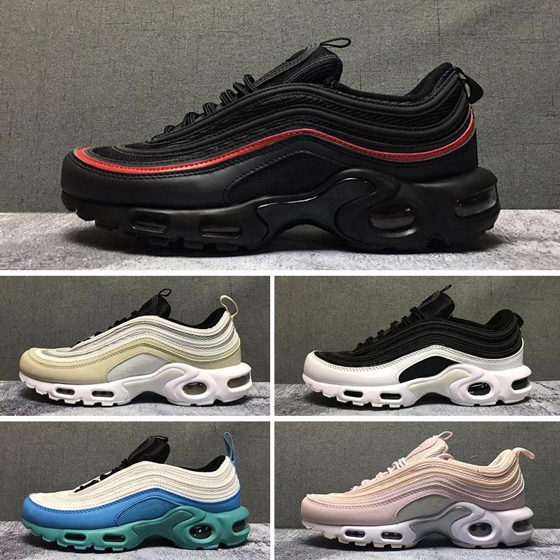 sneakers for cheap 14796 0afe1 2019T 97 Tn Plus running shoes For Men Women 97s tn Triple Black White  Yellow Silver Designer Jogging Sneakers sports shoes Size 36-46