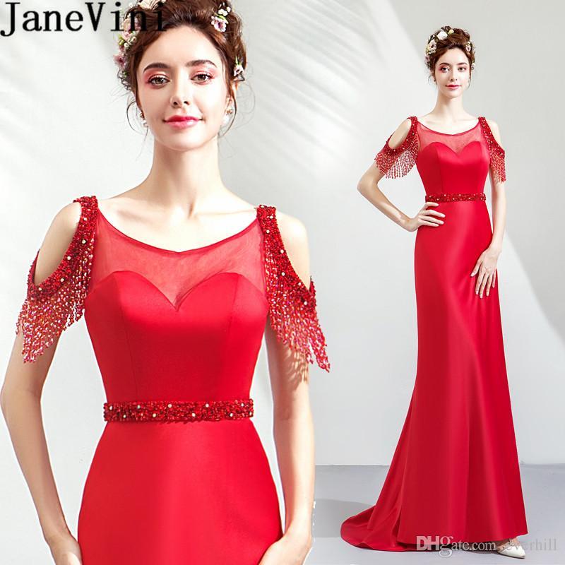 39b2f6d0bc Compre JaneVini Lujo Rebordear Rojo Vestidos De Baile Largo Sirena Sexy  Gala Vestido Formal Ilusión Con Lentejuelas Tren De Barrido Vestidos De  Fiesta De ...