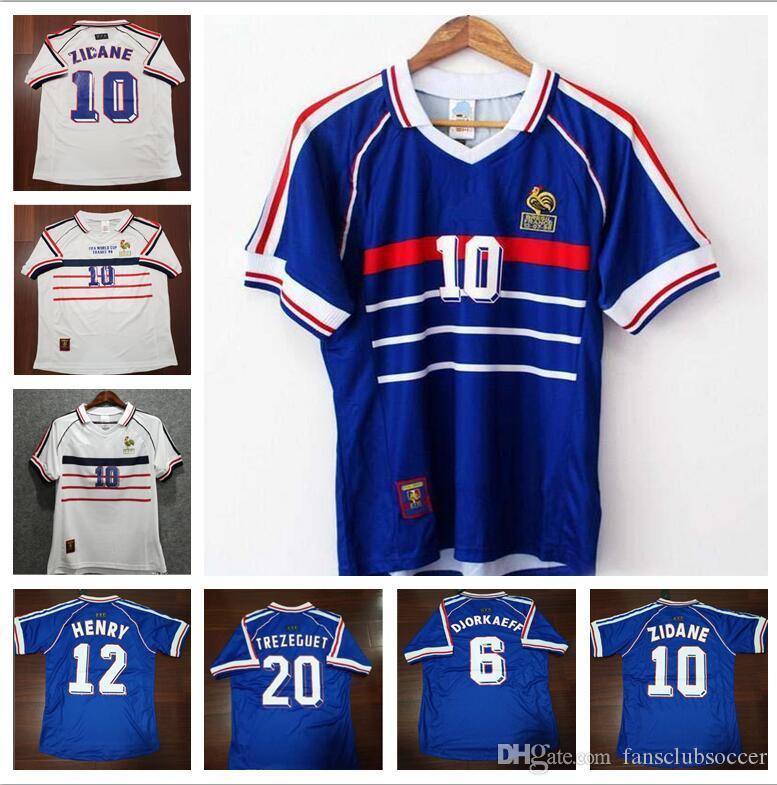 5b3e7f9661223 Compre Copa Do Mundo 1998 Retro Jersey De Futebol Franco Número Do Nome  Personalizado Zidane 10 Henry 12 Camisas De Futebol Roupas De Futebol De  Qualidade ...