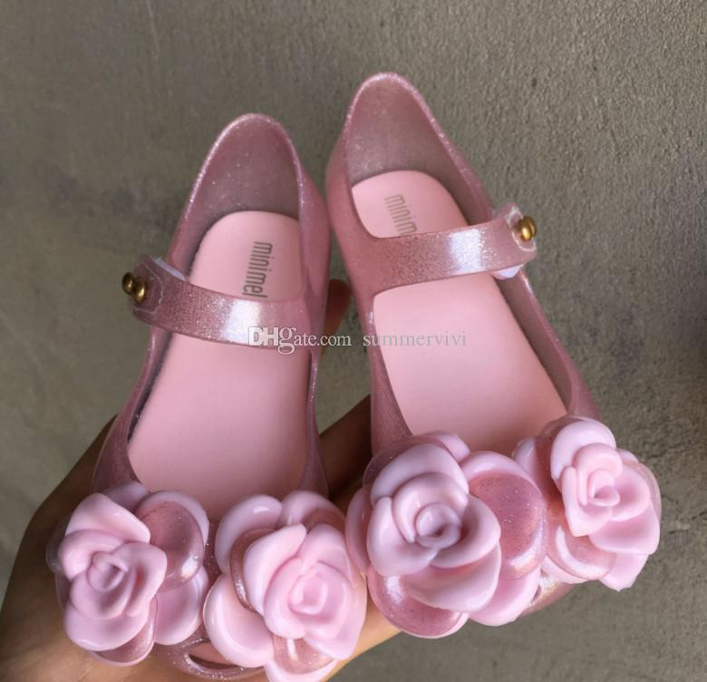 Flower girls sandals Melissa jelly shoes kids stereo camellia applique princess sandals shining children PVC flat beach shoes F8836
