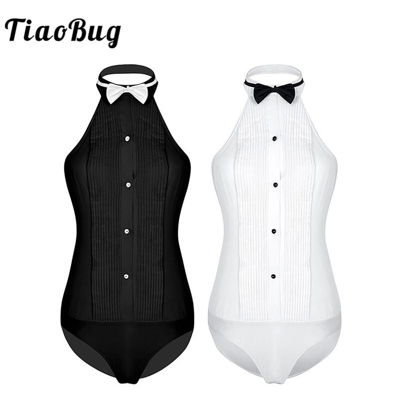 ea1f944e6fad97 2019 TiaoBug Women One Piece Sleeveless Halter Wing Tip Collar Backless Tuxedo  Shirt Bodysuit With Bow Tie Ladies Party Sexy Jumpsuit From Guichenbra