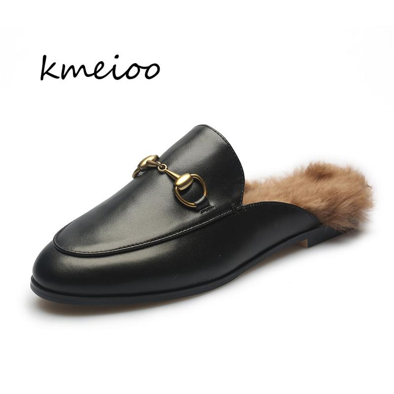 24ef935d24a Kmeioo 2019 New Fashion Women Casual Flats Shoes Genuine Leather ...