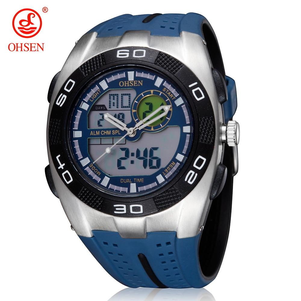 c46bd71601dc Compre OHSEN Marca Cuarzo Digital Hombres Reloj De Pulsera A Prueba De Agua  Relogio Masculino Deporte Al Aire Libre Pantalla Dual Hora LED Azul Relojes  De ...