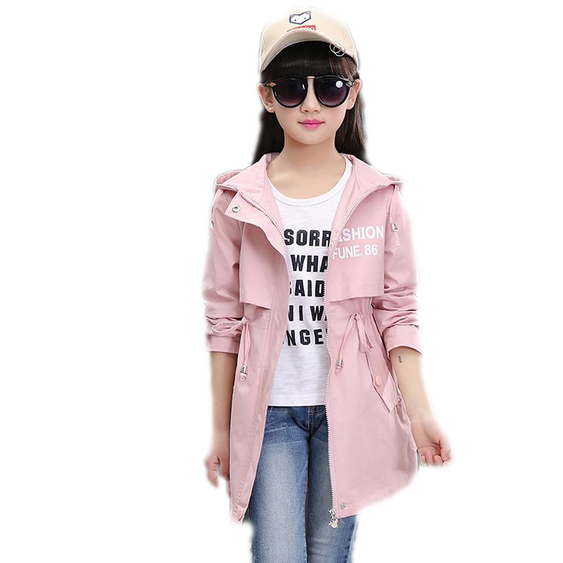 8fdb2d5ca 2019 Spring Long Girls Jacket Children S Clothing Girl Trench Coat ...
