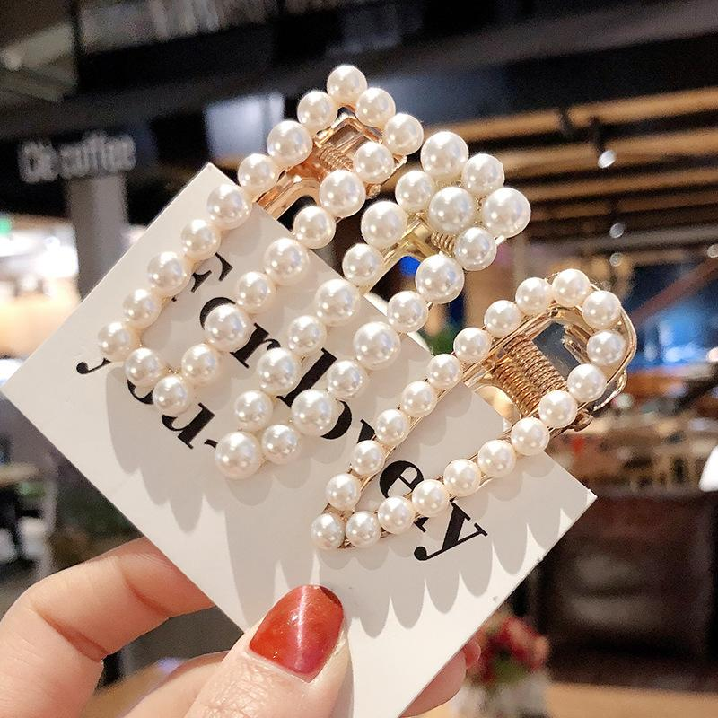 Woman Elegant Geometric Pearl Hairpins Korean Style Hair Clips Alloy Barrettes Girls Hair Accessories Grips Headwear