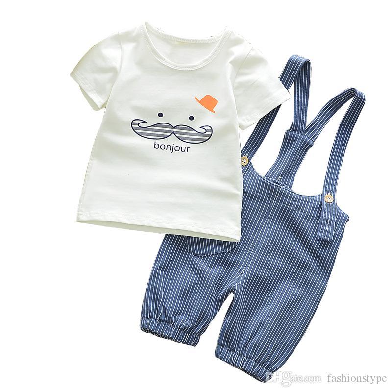 963de54b1 Compre Ropa De Verano Para Bebés Varones Recién Nacido Camiseta Del Bebé +  Overaiis Pantalones Ropa Para Niños Trajes De Deporte De Verano Infantil  Niño ...