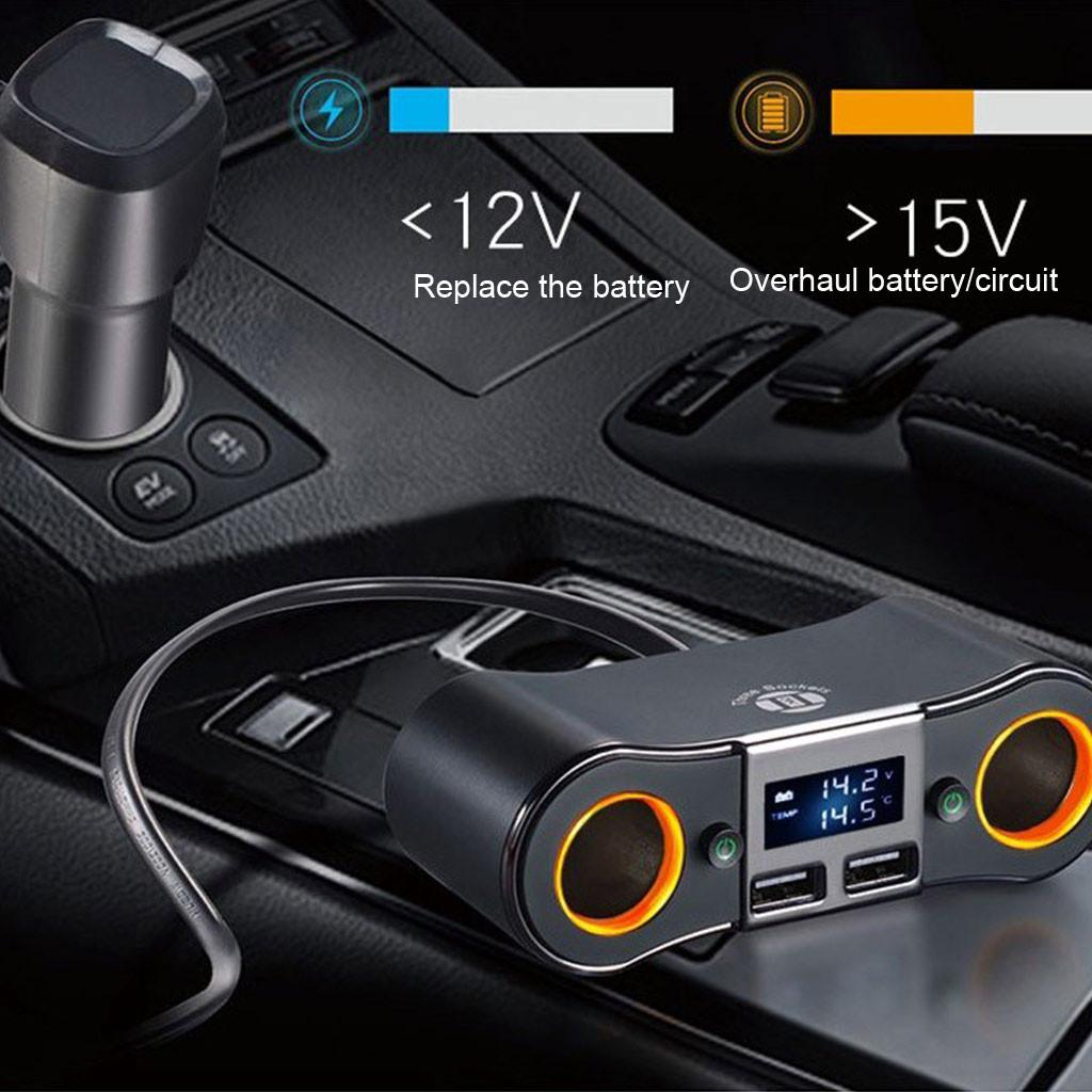 Multi Car 2 Way Cigarette Lighter Socket Extension Splitter USB Charger DC12V24 Dual USB Car Charger With LED Display