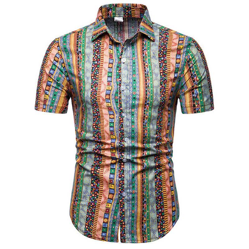 9a2085482 2019 2019Mens Hawaiian Shirt Male Casual Camisa Masculina Printed Beach  Shirts Short Sleeve Summer Men Clothes Shirts Asian Size 5XL From Bairi, ...
