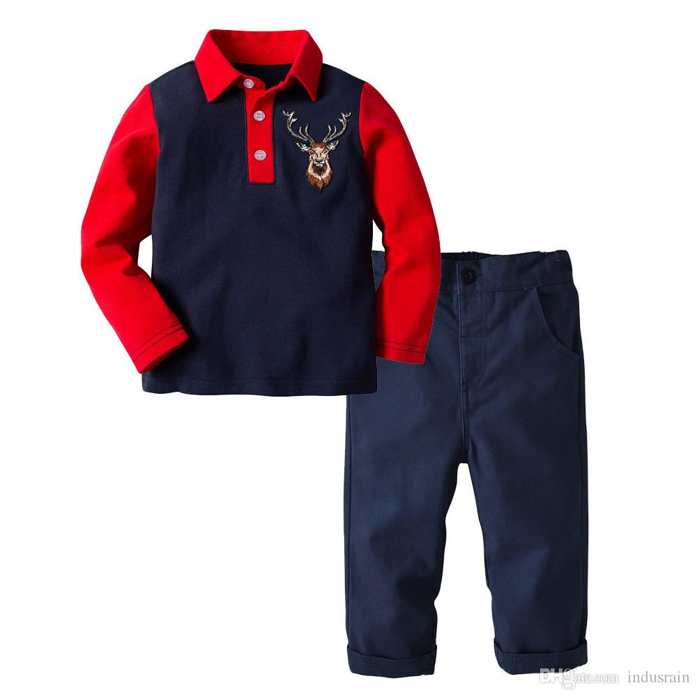 2019 spring and autumn new2Y-7Y boy baby, red sapphire blue color long-sleeved polo shirt + trousers casual suit, boy clothing