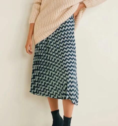 8572ad2cc Geométrica Estampado de otoño Falda plisada Mujer Cintura alta Falda larga  Midi Falda de una línea Faldas Moda europea Streetwear