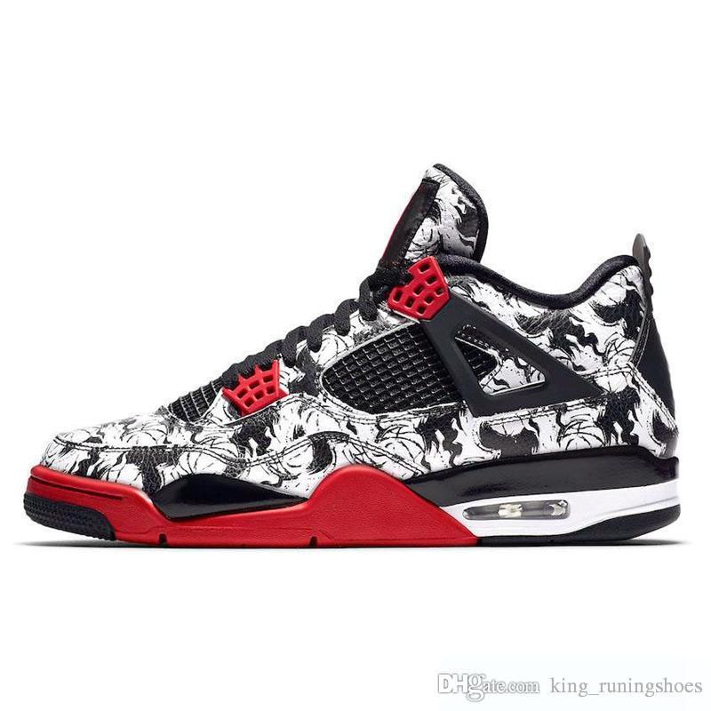 super populaire fa3a2 d5d82 Jordan Retro 4 4s Tattoo Singles Jour Hommes Chaussures de Basketball  Raptors Pure Money Monuments Blanc Ciment Noir Travis Bred Hommes Baskets  Rétro ...