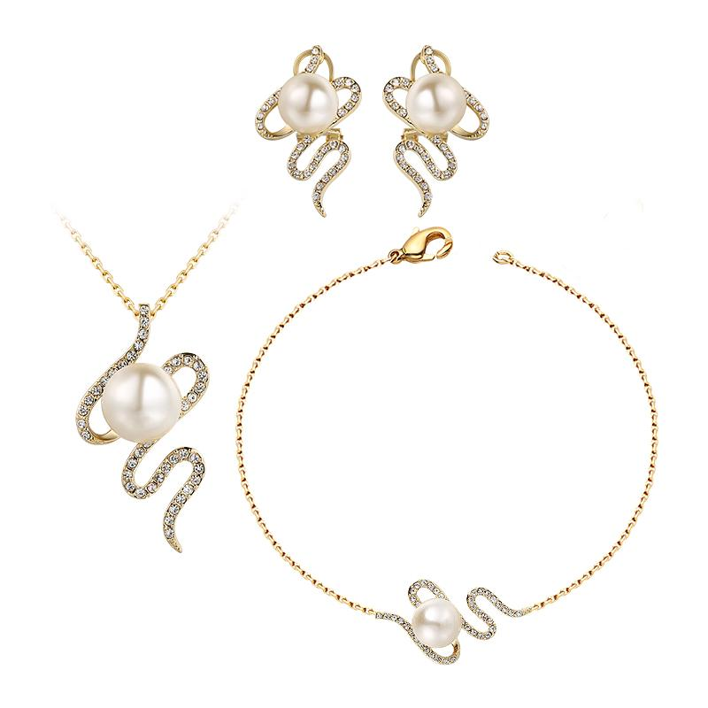 ff02f25b4 2019 New Crystal & Imitation Pearl Alloy Gold Color Crystal Earrings  Bracelet Necklace Jewelry Set S Shape For Women Party Gift From Luney,  $33.45 | DHgate.