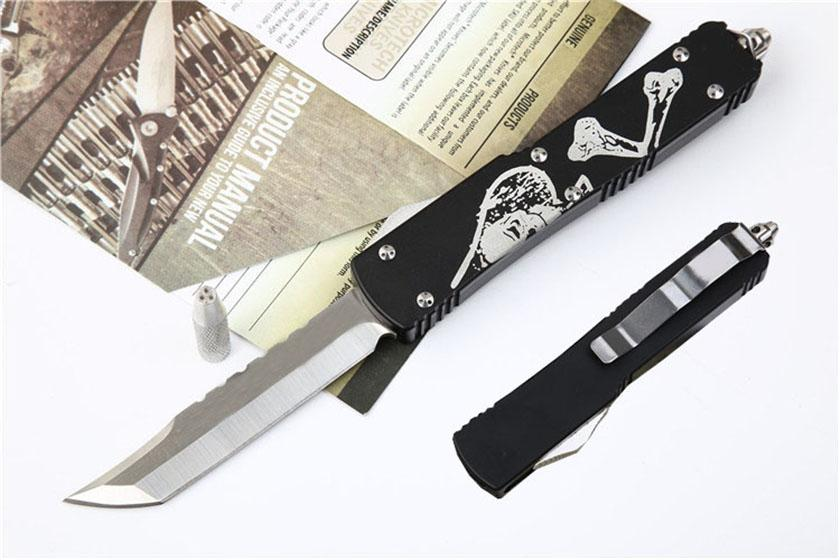 Skeleton UTX70 Survival Pocket knife D2 Blade aluminum Handle Double action Camping Hunting Automatic Tactical Knives Outdoor gear J27M Y