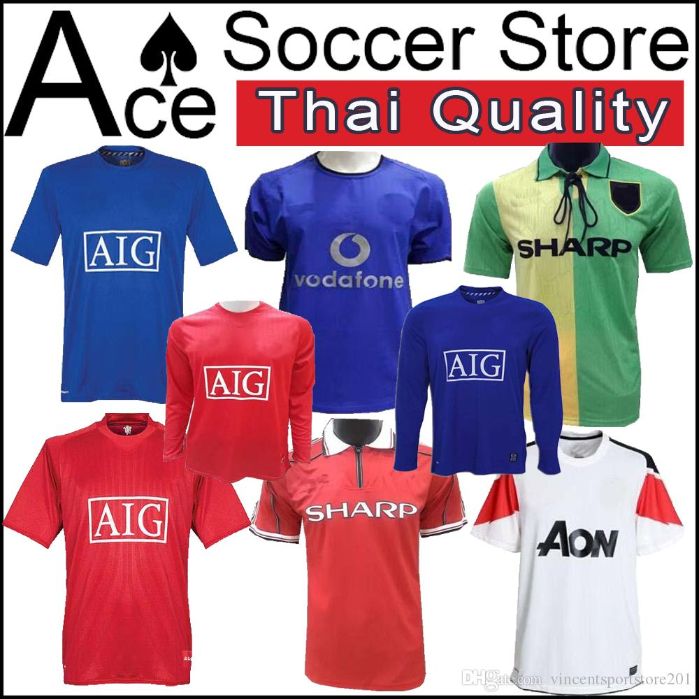 631667800ad 2019 Manchester 2006 2007 2008 United Retro UCL Final Match Manutd Home  Shorts Sleeves Jersey 1993 1994 1998 2010 2011 2013 RONALDO 07 08 Shirt  From ...