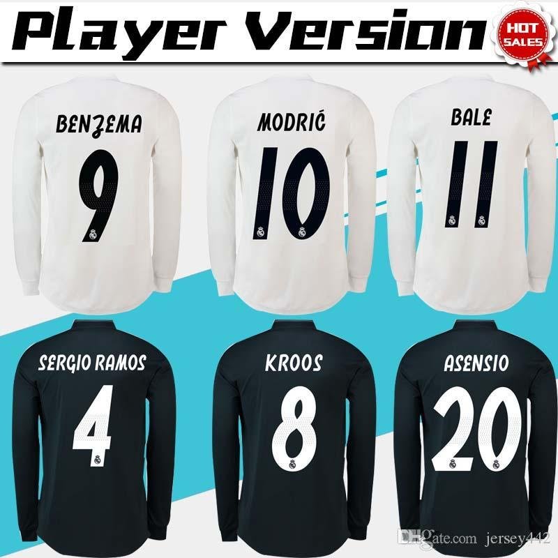 Player Version Real Madrid Long Sleeve Home Soccer Jersey 18 19 Real ... 30f188215