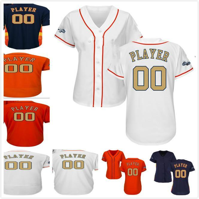 Any Name Any Number 2018 Gold Program Mens Womens Youth Houston 2017 WS Champion Patch Cool Flex Custom Baseball Jerseys White Navy Orange
