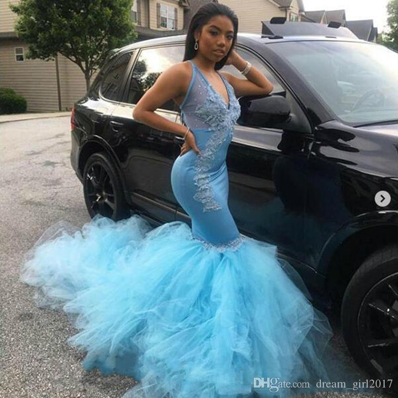 2019 New Sexy Mermaid Prom Dresses Long Illusion V Neck Arabic Formal Evening Blue Lace Applique Party Gowns Sweep Strain robes de Soiree