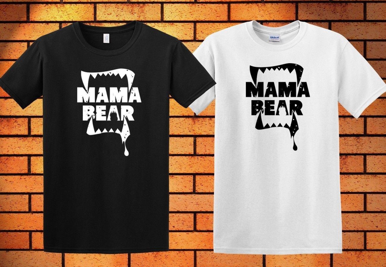 e36aee4e5 Compre Mama Urso Bonito Das Senhoras Com Decote Em V T Camisa Dia Das Mães  Dos Homens Camisa Preta Branco 5 Cores Camisa Impressão T Camisa De  Greycup