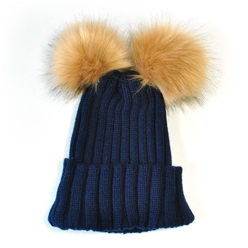 26ac7907cfd Fashion Winter Mom Women Baby Kids Crochet Knitted Hat Caps Children Adult Girl  Boy Wool Fur Bobble Ball Pompom Beanies Hats Beanie Hoodies From  Clintcapela ...