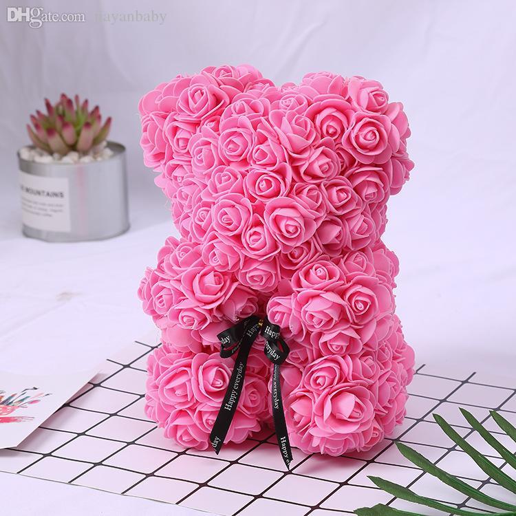 25cm Seifenschaum Bär der Rosen Teddi Bär Rose Blume Künstliche Neujahrsgeschenke für Frauen Valentines Geschenk Weihnachten Plüsch Bär 9 Farben