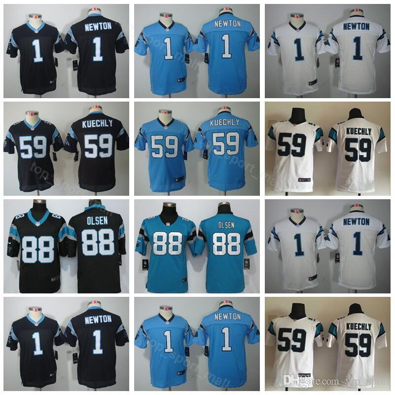 big sale 8ae5f a04ff Carolina Youth Panthers Jerseys Children 1 Cam Newton 59 Luke Kuechly 88  Greg Olsen Kids Football Jersey Sport Black Blue White