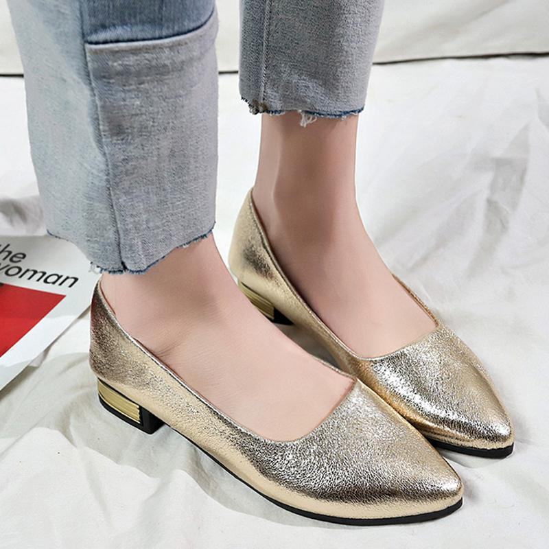 4b8768cee39b Shoes Tangnest 2019 New Spring Gold Low Square Heels Women Shallow Pumps  Slip On Pointed Toe Solid Ladies Casual Fashion Xwd7445 Boots For Men Wedge  Shoes ...