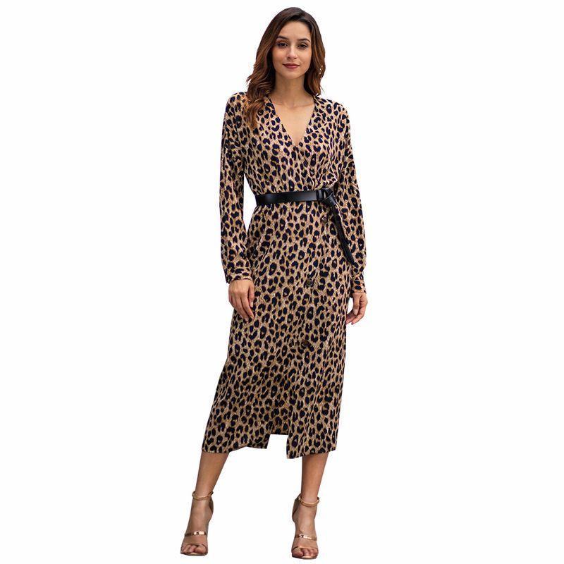Aphrodite Home Women Dress Long Sleeve Leopard Print V Neck Belt Waist  Button A Line Sexy Split Ends Ladies Midi Dress Vestidos Party Dress  Sleeves Long ... af2c97766