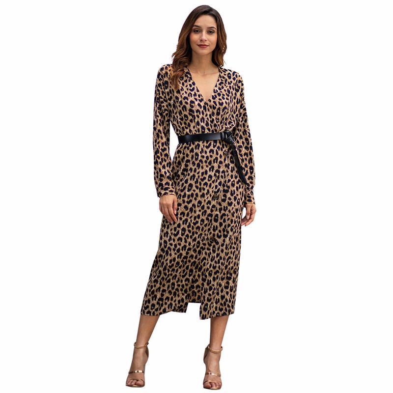 871aa3ba2779c5 Aphrodite Maison Femmes Robe À Manches Longues Imprimé Léopard Col En V  Ceinture Taille Bouton A-ligne Sexy Fendues Dames Midi Robe Robe Robes
